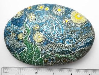"Van Gogh's ""Starry Night"" on river rock"