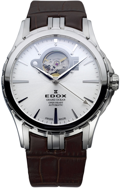 Edox Mens 85008 3 AIN Grand Ocean Open Heart Automatic Silver Dial Watch