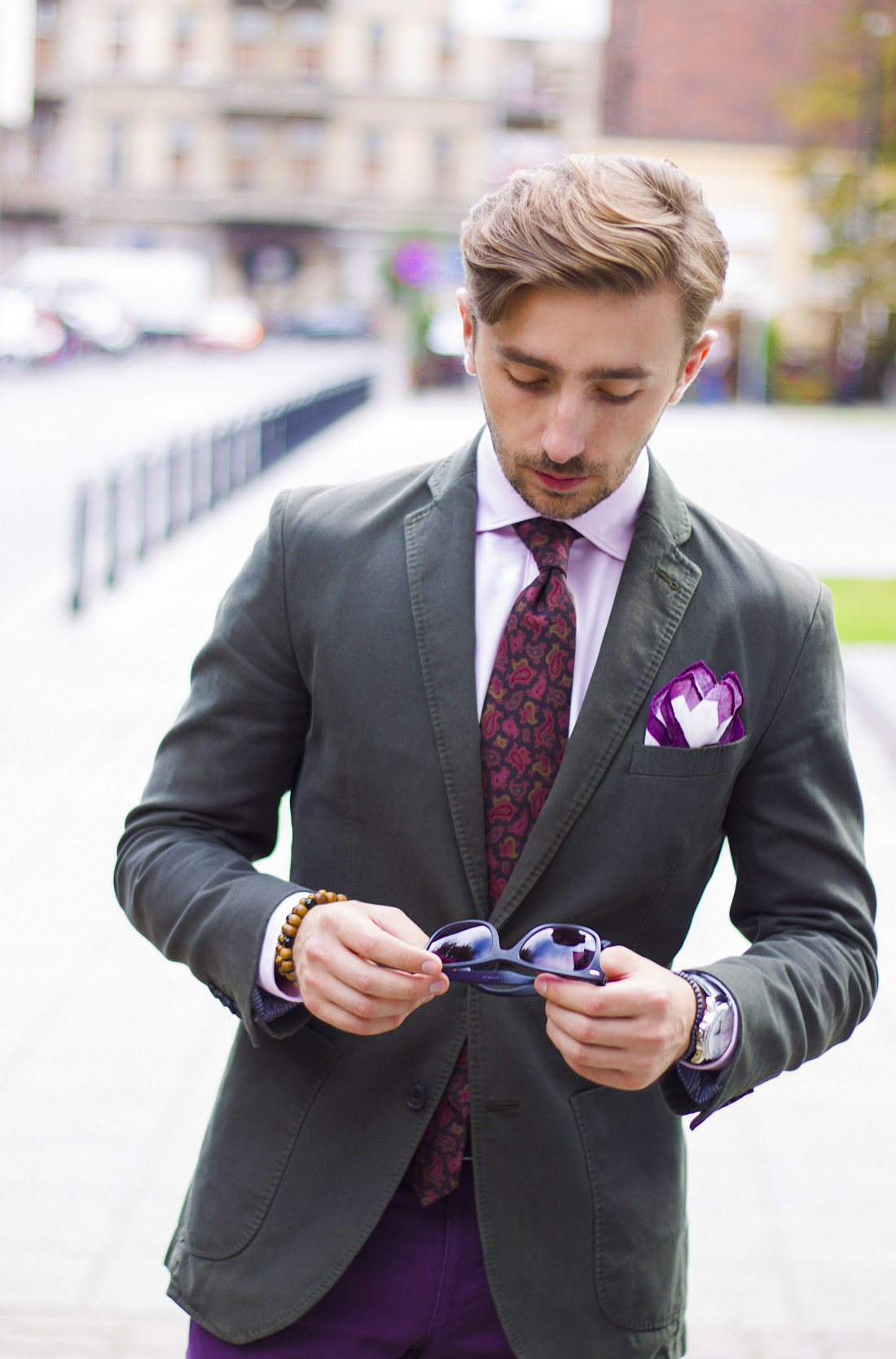 fioletowe spodnie