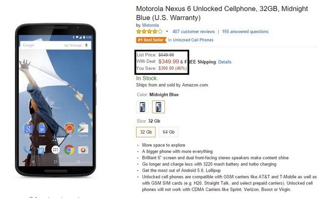 Nexus 6 drop in price