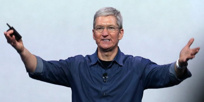 CUPERTINO, CA - SEPTEMBER 09: Apple CEO Tim Cook speaks during an Apple special event at the Flint Center for the Performing Arts on September 9, 2014 in Cupertino, California. Apple announced the new iPhone 6 and Apple Watch. (Photo by Justin Sullivan/Getty Images)