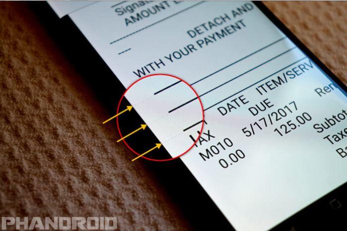 Exemplo de screen bleeding do Galaxy S8 - créditos: PhanDroid