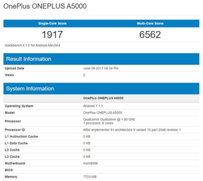 OnePlus 5 GeekBench