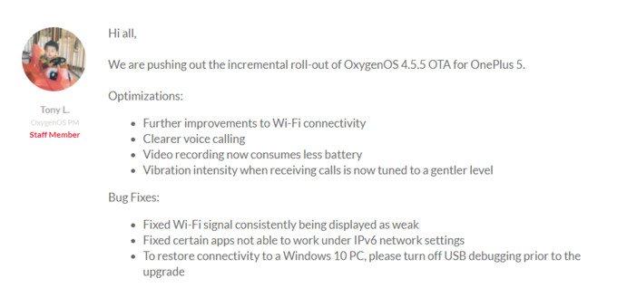 OnePlus 5 OxygenOS 4.5.5