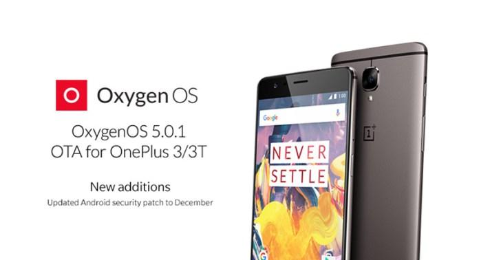 OnePlus 3T OnePlus 5 OxygenOS 5.0.1 Android Oreo
