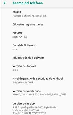 Motorola Moto G4 Plus Android Oreo