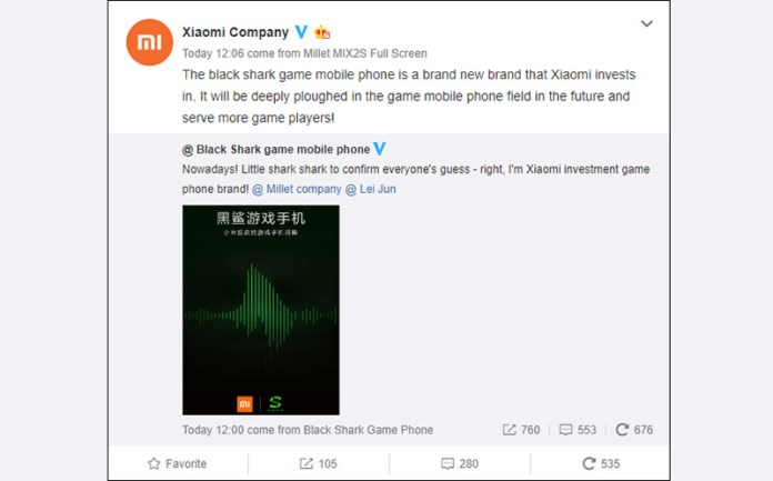 Xiaomi Black Shark Android Oreo smartphone
