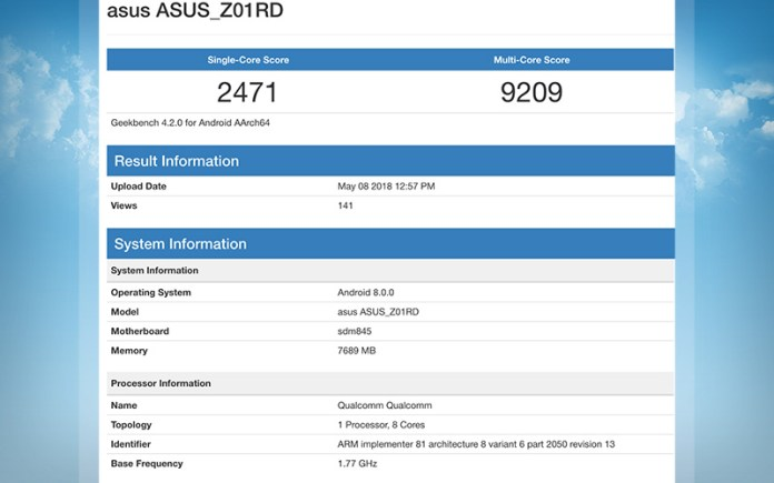 GeekBench ASUS ZenFone 5Z Qualcomm Snapdragon 845 Android
