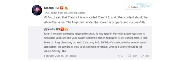 Xiaomi Mi 8 Android Oreo Google MIUI 10