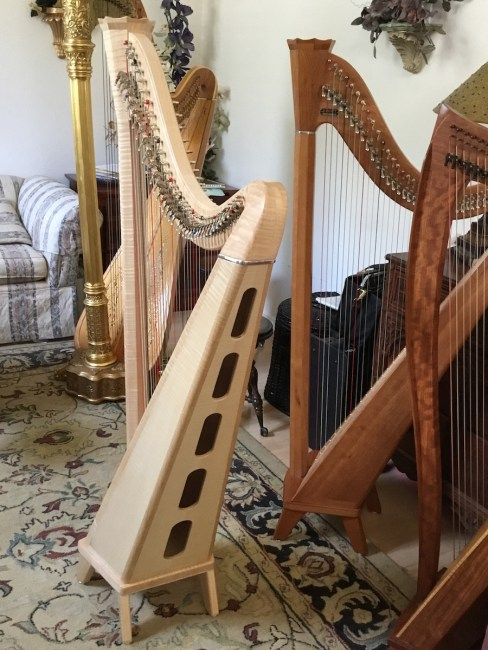 Birds Eye Maple Princessa Harp from Side for Sale