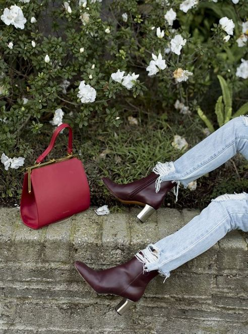 aimee_song_songofstyle_mansur_grvriel_red_purse_with_gold_details_light_blue_ripped_jeans_celine_red_leather_silver_heeled_boots_pink_red_multicolor_cardigan_pink_nude_silk_cami_tanktop