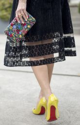 Sydne-Style-wears-Christian-Louboutin-pigalle-pumps-in-yellow-patent-leather