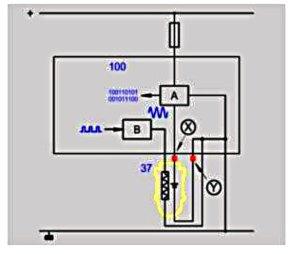 Упрощенная электрическая схема системы измерения кислорода циркониевым датчиком