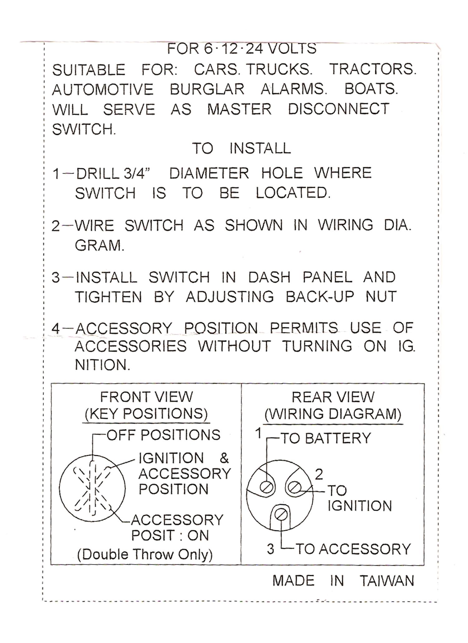Universal Ignition Switch Wiring : universal, ignition, switch, wiring, Universal, Ignition, Switch, Position, 40-64000, Wiring, Diagram