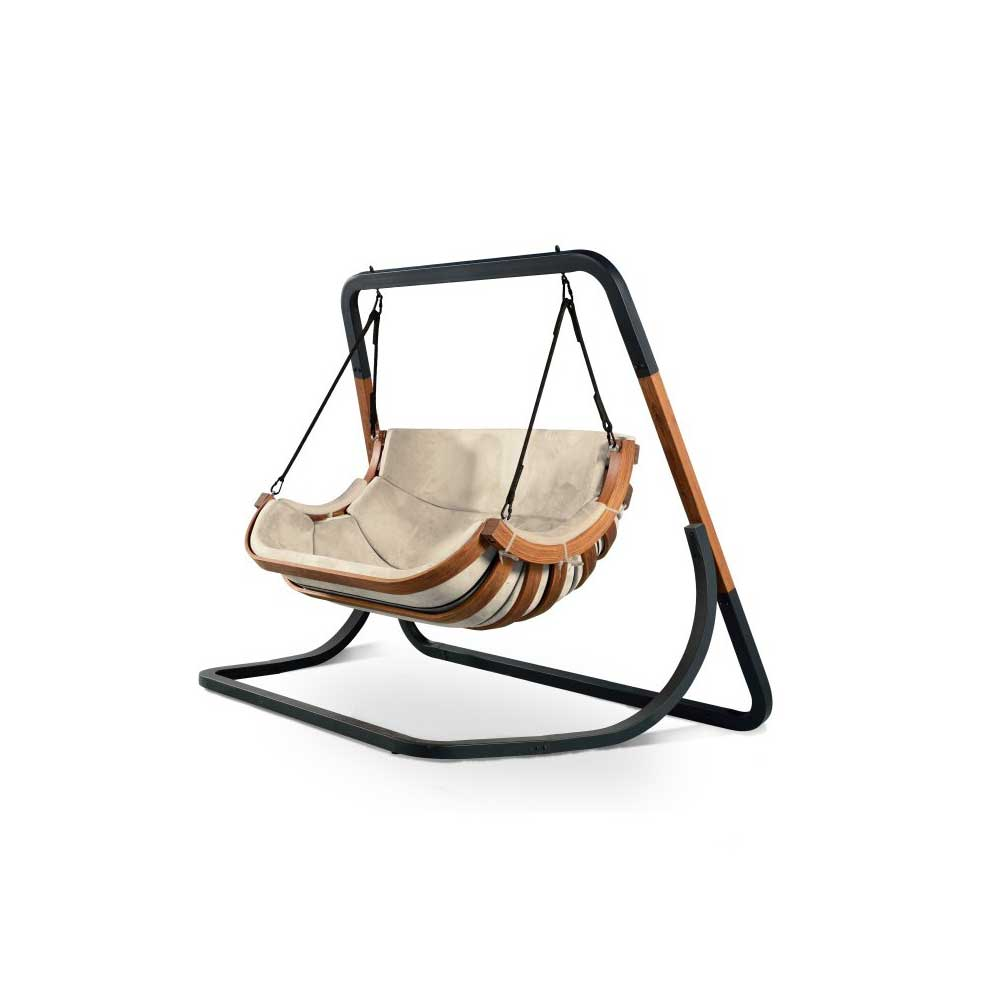 Swing Chair Stand Two Seated Swinging Chair With Stand Beige