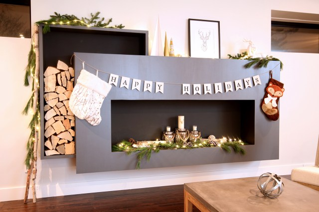Dreamhouse Project holiday decorated DIY faux modern fireplace with stacked log feature