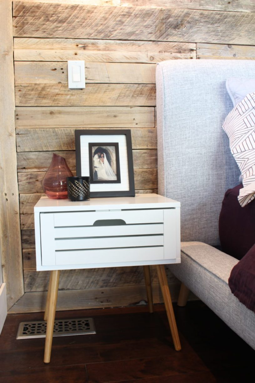 Nightstand and DIY pallet wall | Dream Bedroom Reveal - The Dreamhouse Project
