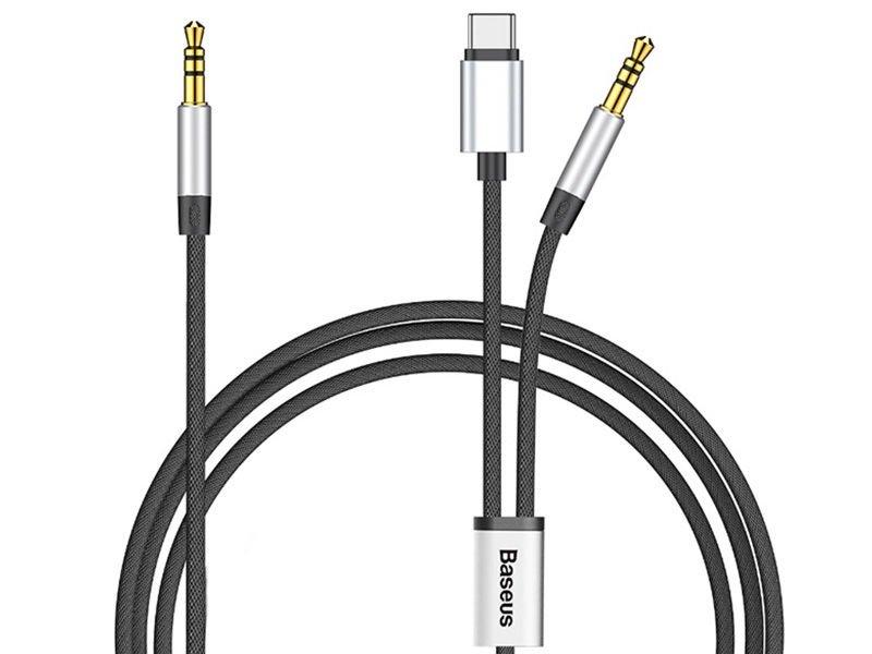 Kabel Baseus AUX Audio usb-c typ C + 2x mini jack 3.5mm