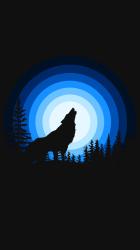 Wolf 4K Wallpaper Howling Silhouette Black background Blue Black/Dark #975