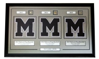 Custom Framed Letterwinner with Pins and Custom Engraved Nameplates