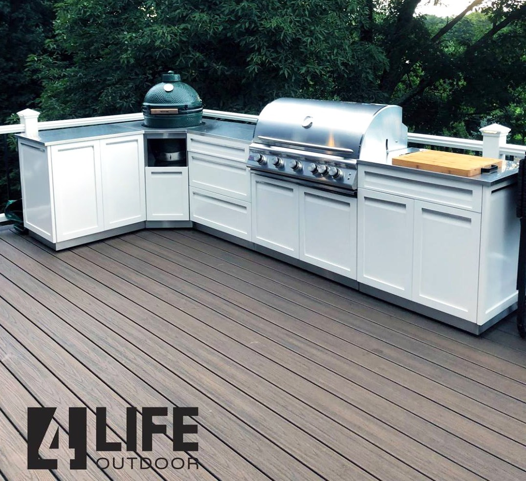Blaze grill with 4 Life outdoor cabinets
