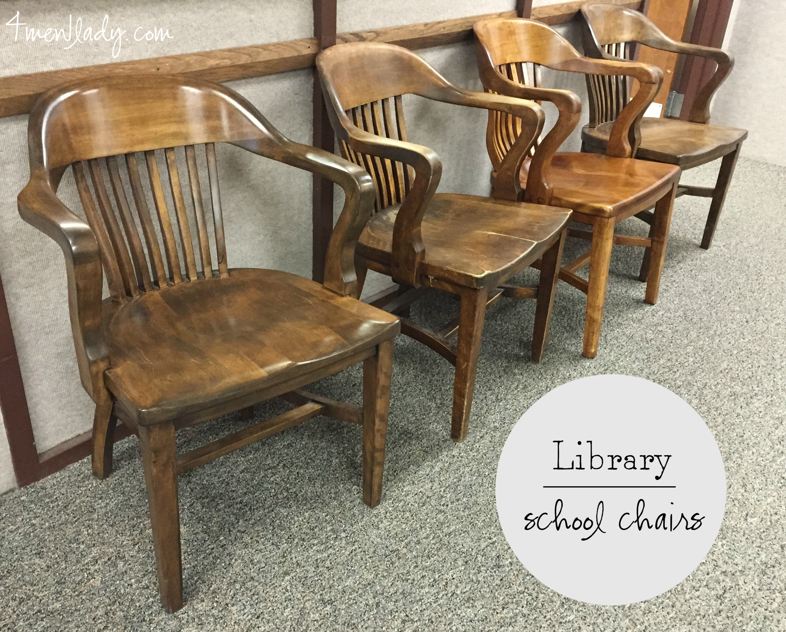 Wooden Bankers Chair Vintage Library Chairs
