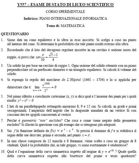 pni2190608 - Maturità 2008: le tracce della Seconda Prova