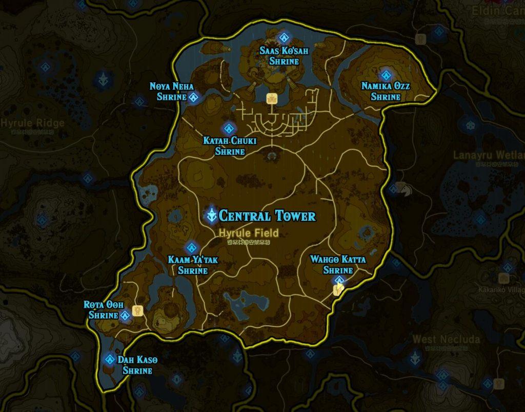 Central Region 1024x805 - The Legend Of Zelda Breath of The Wild, guida alla posizione di tutti i Santuari