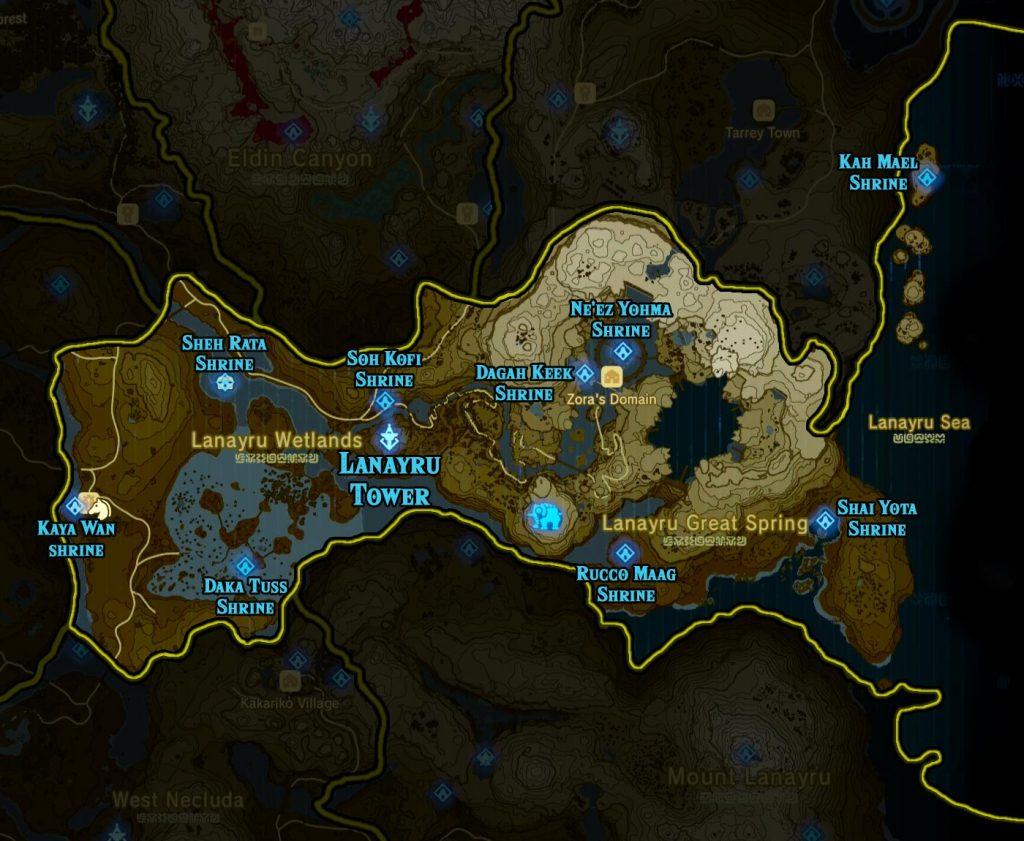 Lanayru Region 1024x841 - The Legend Of Zelda Breath of The Wild, guida alla posizione di tutti i Santuari