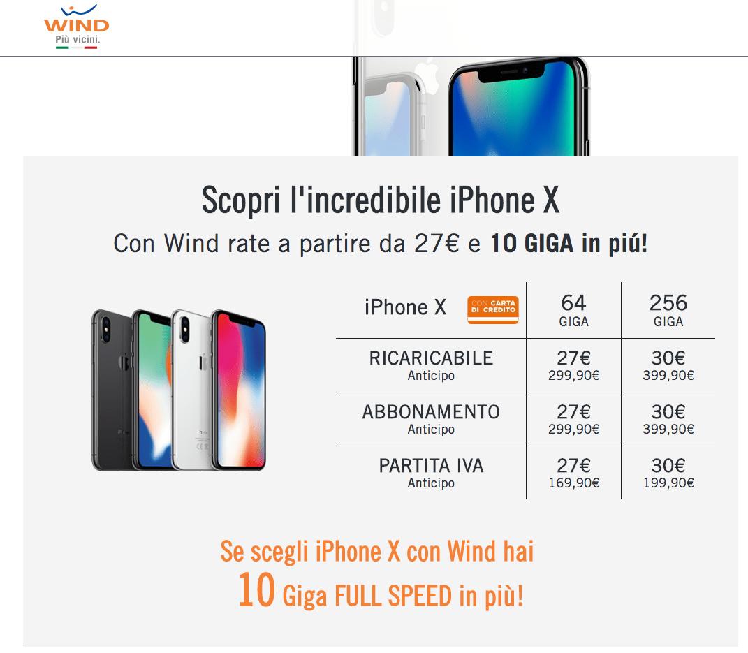 iphoneXconWind02.11.2017 - iPhone X: le offerte degli operatori italiani per ricaricabili e abbonamento