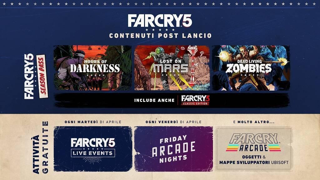 Post Launch Roadmap 2 IT 1024x576 - Ubisoft svela i dettagli post lancio di Far Cry 5 con il Season Pass e i contenuti gratuiti della modalità Far Cry Arcade