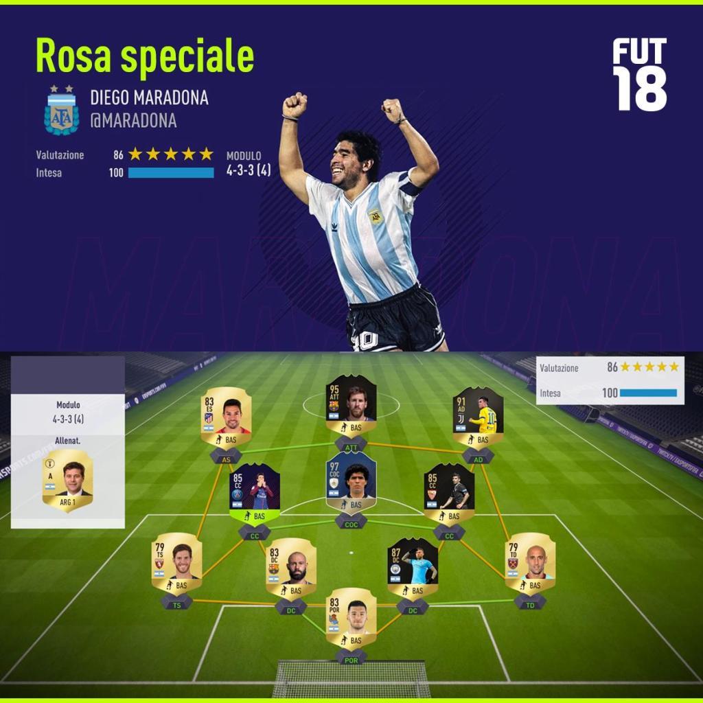 SQUAD 18 03 05 1024x1024 - FIFA 18 - FUT Ultimate Team, scopriamo insieme la squadra scelta da Diego Armando Maradona