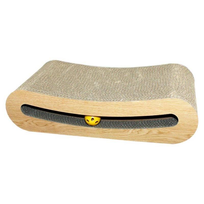 Katzenkratzer Futon von Happy Pet Kratzspappe mit integrierter Ballschiene mit den Maßen 42 x 20 x 9,5 cm