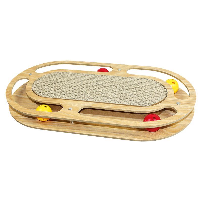 Katzenkratzer Racer von Happy Pet Ball-Rundkurs mit 4 Bällen (je 2 gelbe und zwei rote), in der Mitte mit Kratzpappe befüllt