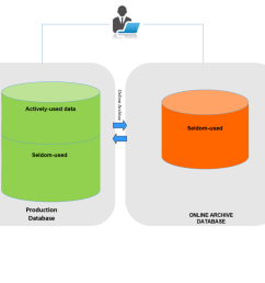 the application end users will have access to archive data using database links and end users do not need to perform any additional steps than selecting  [ 1024 x 829 Pixel ]