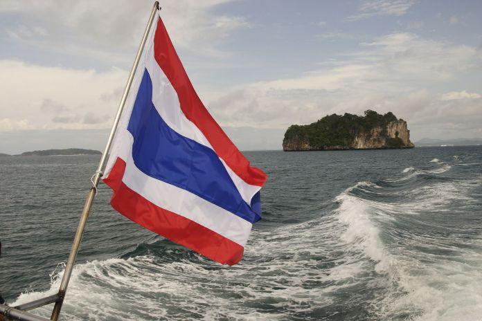 Fahne Thailands am Boot