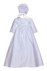 Cinda Traditionelle Baby-Satin Langarm Taufkleid und Motorhaube