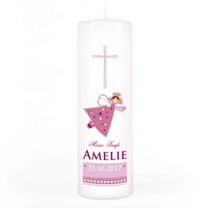 Striefchen Taufkerze rosa für Mädchen mit Schutzengel