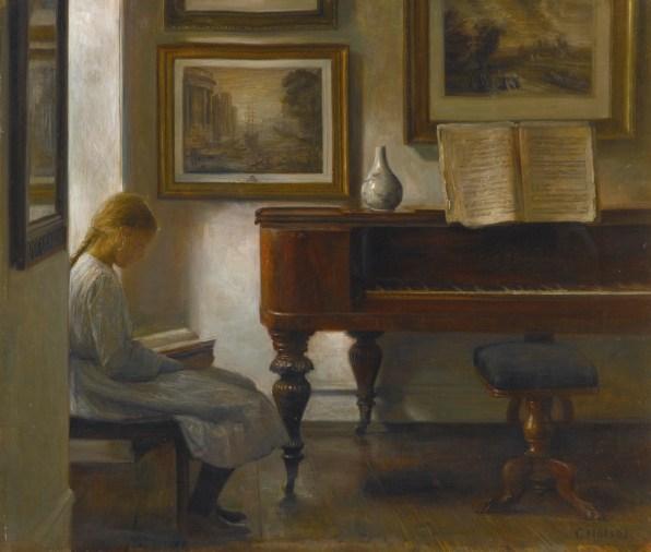 "Carl Vilhelm Holsøe (Danish, 1863-1935), ""Girl in an Interior"""