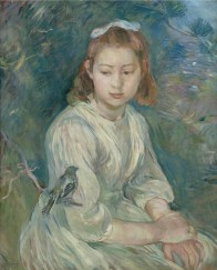"Berthe Morisot (French, 1841-95), ""Petite fille à l'oiseau"""