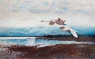 "Bruno Liljefors (Swedish, 1860-1939), ""Swans in Flight"""