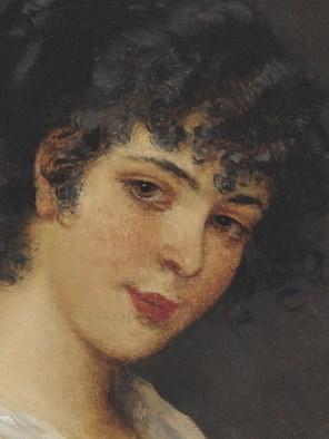 """Eugene de Blaas (Italian, 1843-1932), """"Portrait of a Young Woman"""" (detail)"""