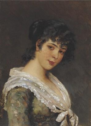 """Eugene de Blaas (Italian, 1843-1932), """"Portrait of a Young Woman"""""""