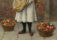 """Eugene de Blaas (Italian, 1843-1932), """"The Market Girl"""" (detail)"""