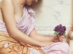 """John William Godward (English, 1861-1922), """"Violets, Sweet Violets"""" (detail)"""