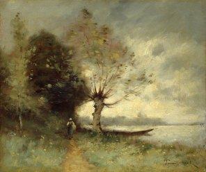 """Paul-Désiré Trouillebert (French, 1831-1900), """"Bank of the Loire near Chouze"""""""