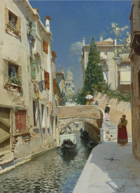 "Rubens Santoro (Italian, 1859-1942), ""Venetian Canal with the Campanile of the Frari in the Distance"""