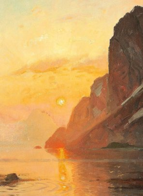 "Thorolf Holmboe (Norwegian, 1866-1935), ""Midnattsol Lofoten"" (""Midnight Sun in Lofoten"", detail)"