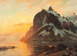 """Thorolf Holmboe (Norwegian, 1866-1935), """"Midnattsol Lofoten"""" (""""Midnight Sun in Lofoten"""")"""