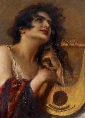 """Leopold Schmutzler, """"Mädchen mit Lyra"""" (detail)."""